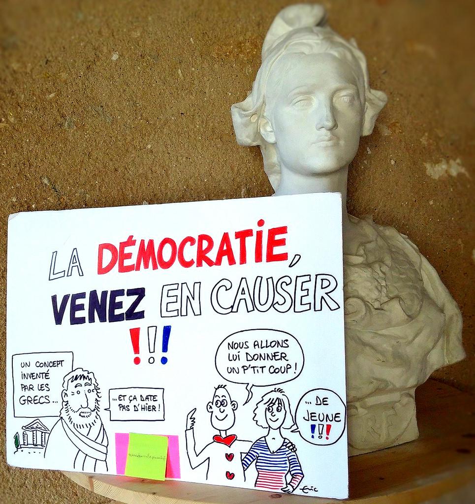 Dessin par Eric Grelet réalisé durant la tournée citoyenne - Démocratie Permanente en Région Centre-Val de Loire.